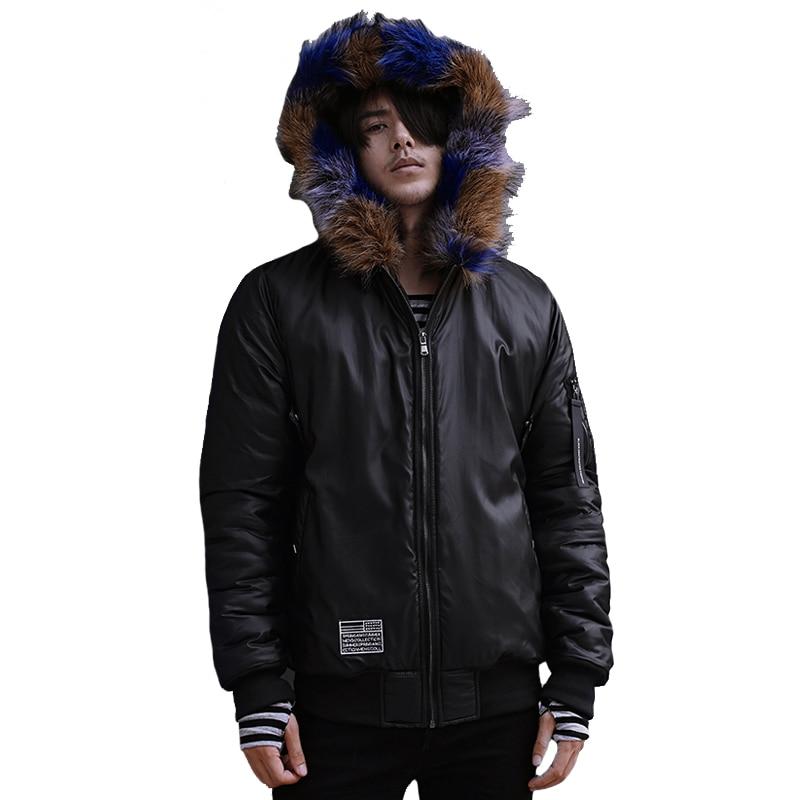 2016 Erkekler Kış Pamuk Kürk Coats ile Ceketler Jaqueta Masculina erkek Rahat Moda Slim Fit Yastıklı Kapüşonlu Veste Homme ceketler