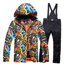 Free shipping Women's ski suits Men couple clothes thick warm ski jacket and pants windproof waterproof outdoor sports thicker