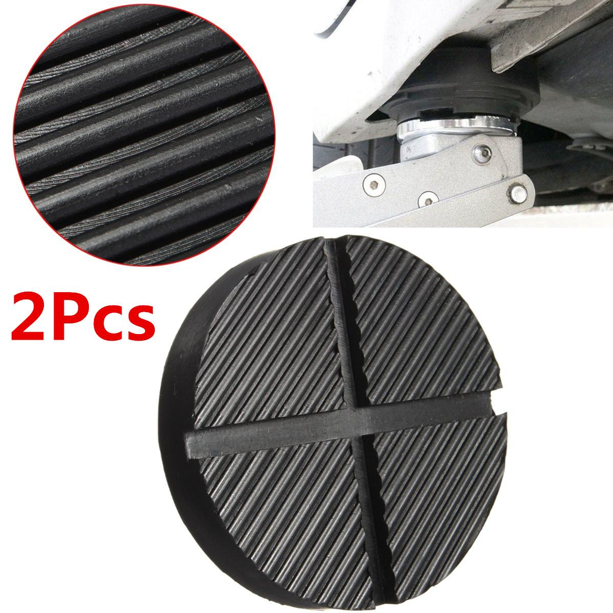 High Quality 2Pcs Black Rubber Car Truck Cross Slotted Frame Rail Floor Jack Disk Pad Ad ...