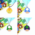 Colorful Super Mario Mushroom Necklace & Keychain Pendant Figure Mushroom Head Japanese Anime Toys Kids Nice Gifts #F