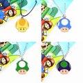 Colorido Super Mario Mushroom colar e chaveiro pingente figura cabeça de cogumelo Anime japonês brinquedos as crianças presentes agradáveis # F