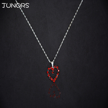 JUNORS New Tiny Colorful Heart Pendant Necklace Silver Plated Chain Two Color Quality Crystal New Fashion