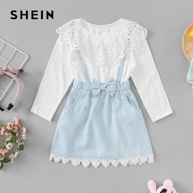 SHEIN Kiddie Bow Front Eyelet Embroidered Lace Trim Cute Girls Dress Child Spring Long Sleeve Casual A Line Flared Kids Dresses frill trim bow tie front pants