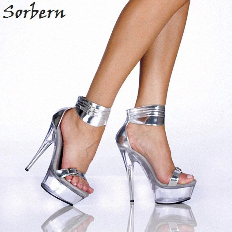 Sorbern Ankle Strap Red High Heels Sandals Women Platform Heels Summer Shoes Women Kawaii Shoes Sling Back Shoes 15Cm/5Cm 15cm ultra high heels sandals ruslana korshunova platform crystal shoes the bride wedding shoes