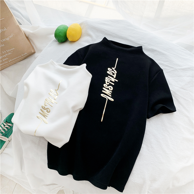 HTB1jKVEXkH0gK0jSZPiq6yvapXaM - Harajuku White Black Female T-shirt Summer turtleneck all-match Tee Shirt Femme korean Letter Print elasticity slim Women Tshirt