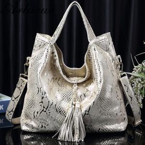 Image 3 - Arliwwi Brand New Quality Serpentine Grain Suede Cowhide Classical Designer Genuine Leather Handbags With Elegant Tassel GB01