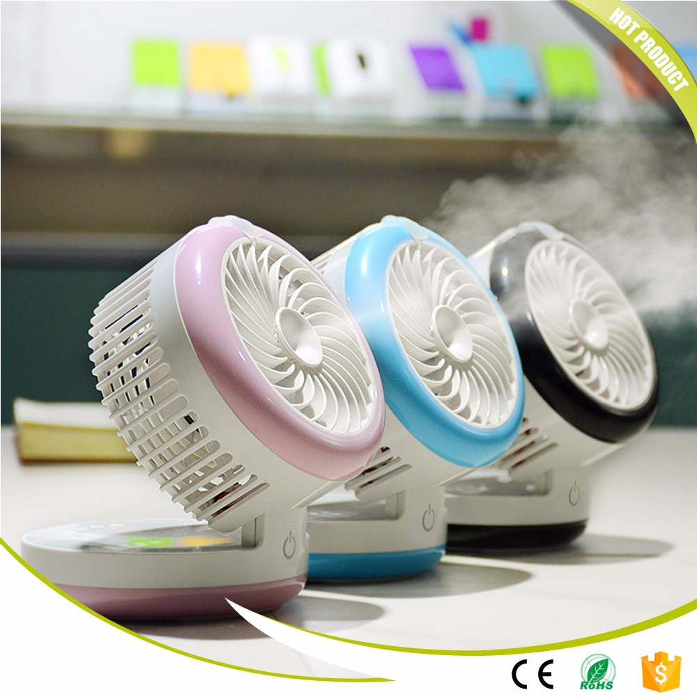 New Summer Humidifier Mini Fan USB Rechargeable Water Mist Fan With Lithium Battery Office Home Round Table Pedestal Cooling Fan 2016 year very hot sale new small apple design high quality battery operated min usb powered table fan cooling fan