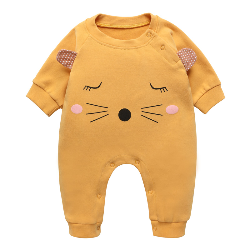 Long Sleeve Baby Rompers Boys Girls Jumpsuit Onepiece Autumn Outwear Clothes Children Cotton Character Cute Casual O-neck 6-12m