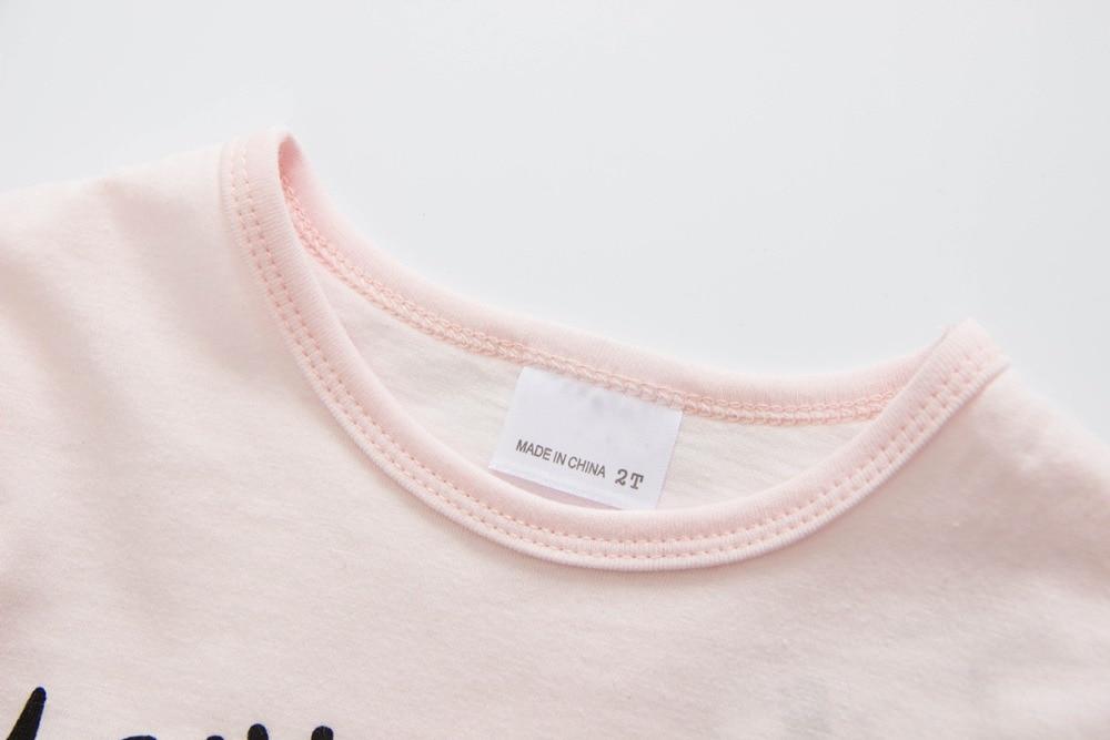 Dziewczyny T shirt Różowe letnie Topy Tee Drukowane bawełniane - Ubrania dziecięce - Zdjęcie 3