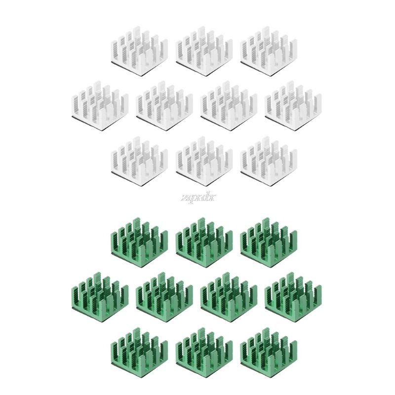 10pcs Computer Cooler Radiator Aluminum Heatsink Heat Sink For Electronic Chip Heat Dissipation Cooling Pads Green, Silver Color