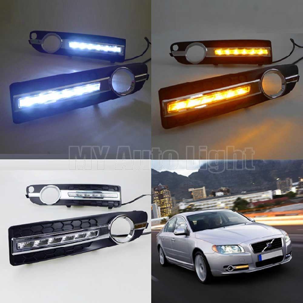 LED Daytime Running Lights For Volvo S80 S60 2009-2015 DRL with Turn Signal купить шаровую на volvo s80 неоригинал