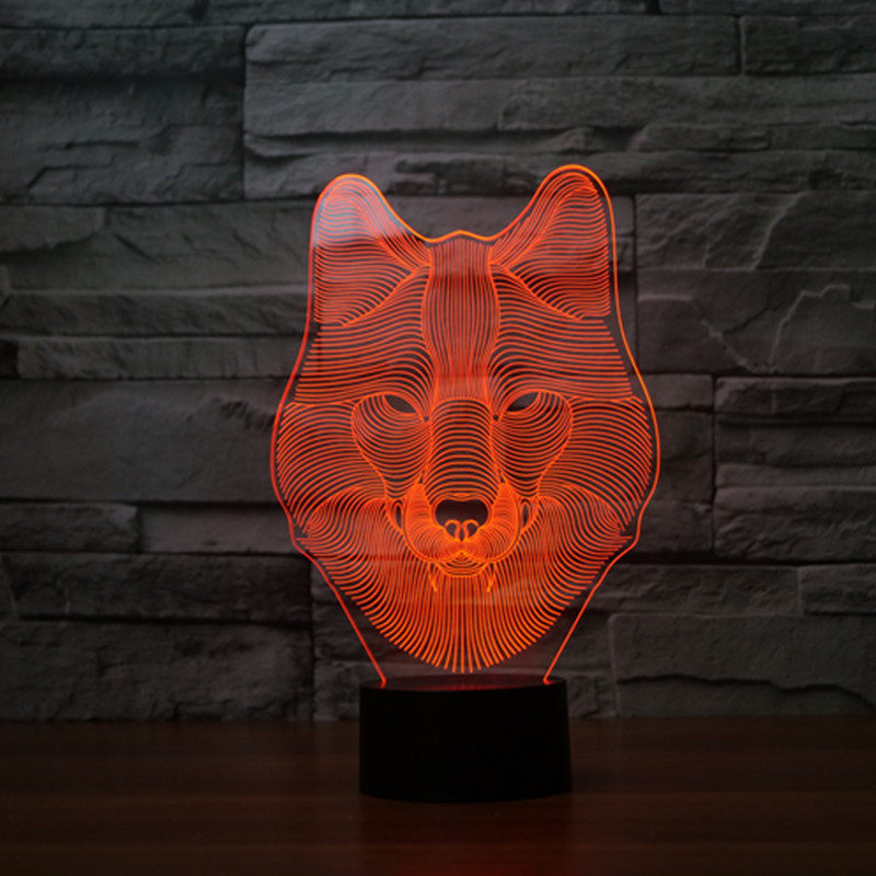 the new wolf 3D light colorful touch LED visual light gift decorative atmosphere 3242