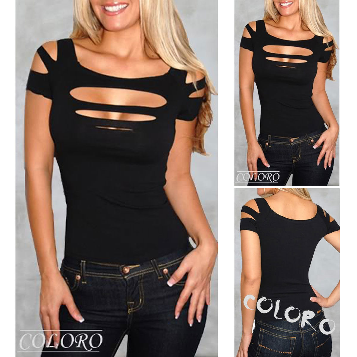NEW Exposure black Bust hole Vest Tank women sexy Tops club wear Shirt