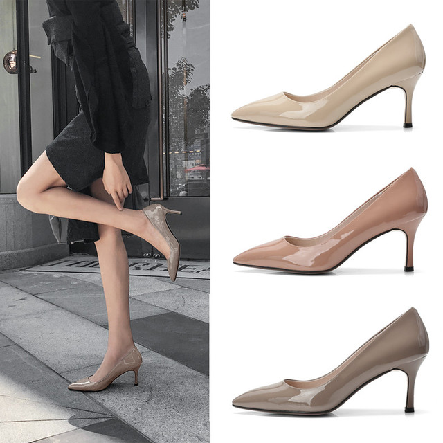 ENNIS 2019 Fashion High Heels Shoes Women Genuine Leather Stiletto Pumps Patent Leather Pointed Female Heels Spring Shoes H901