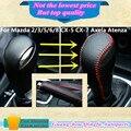 Alta calidad piel negro conjuntos de engranajes collares turno perilla del freno de mano se pega marco para Mazda 2 / 3 / 5 / 6 / 8 CX-5 CX-7 Axela Atenza etc