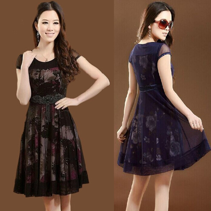 2014 Middle Aged Women Summer Dresses Mother Dress New