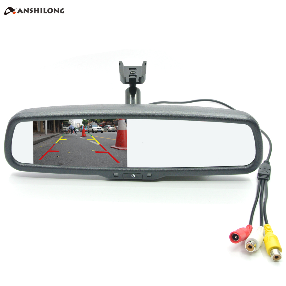 ANSHILONG 4.3 TFT LCD Car Rear View Mirror Monitor 2Ch video input with OEM special mounting bracket