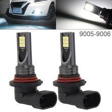 2pcs 12V Car Fog Lamp 9005 9006 3030 SMD Lights 1200LM 6500K-7500K White Driving Running Auto Light Bulb for Cars