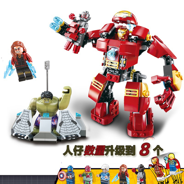 DR.TONG New Super Heroes Captain Avengers Iron Man Armor Hulk Bricks Iron Man Action Building Blocks Toys KID Gifts MK36 42 25
