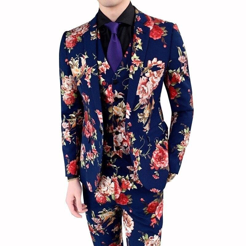 Fashion 2019 New Autumn Flower Print Slim Fit Dress Suits For Men 3piece Suit Men Night Club Singer Stage Costume Homme Tuxedo