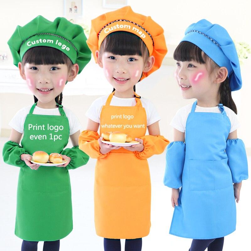 Kinder kind Kinder Schürze Ärmeln Hut Set Große Tasche Küche backen Malerei Kochen Handwerk Kunst Latzschürze 9 Farben Drucken Logo