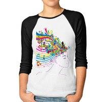 New Fashion DJ Girl And Music Note T Shirt Women 3 4 Raglan Sleeve Cool Printed