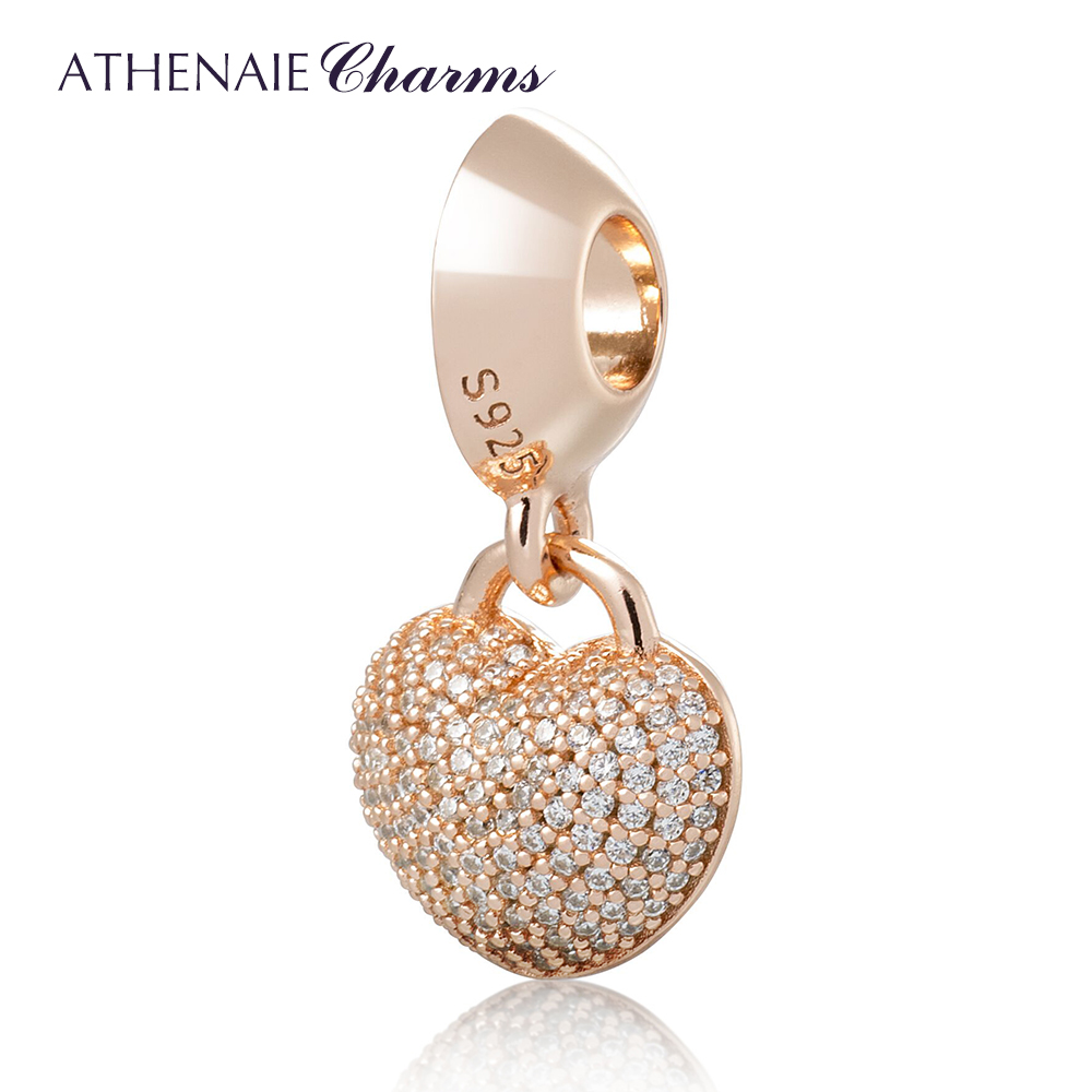 ATHENAIE 925 Silver Pave Clear CZ Heart Lock Love Mother Love Daughter Pendant Charms Bead Fit Bracelets Color Rose Gold