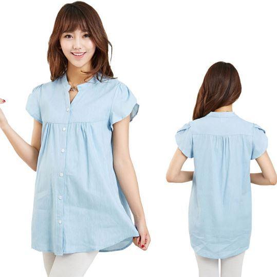 100% Хлопок Женщин Топы Летние Сукна Повседневный Беременная Одежда С Коротким рукавом Твердые Большой Размер Блузка