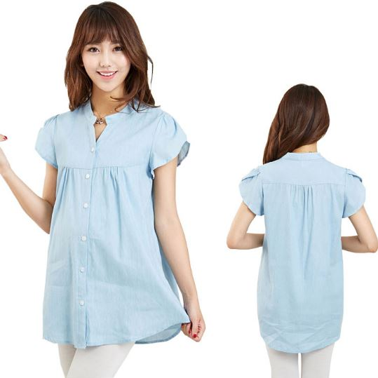 100% Cotton Women Maternity Tops Summer Broadcloth Casual Shirts Pregnant Clothing Short-sleeve Solid Big Size Blouse
