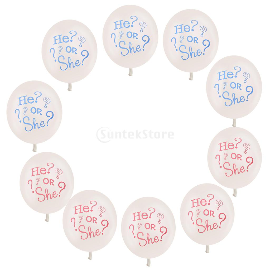 New Arrive 10pcs He or She Gender Reveal Baby Shower Latex Balloons Party Decoration