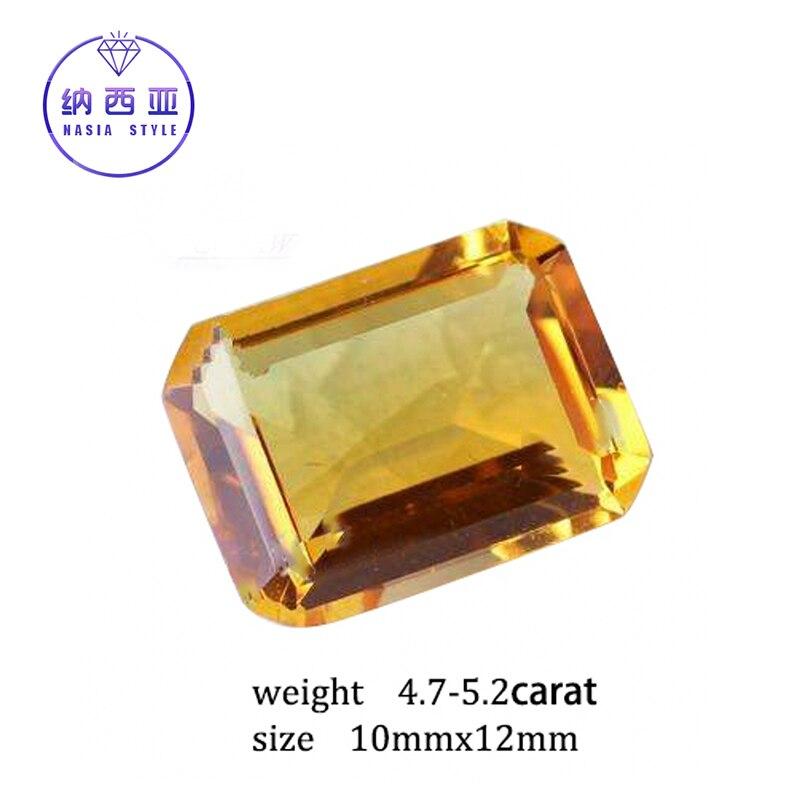 4.7-5.2 карат натуральный желтый цитрин кристалл раздел Бразилии Изумрудный Cut Бусины свободные камень, пригодный для DIY Ювелирные украшения р... ...