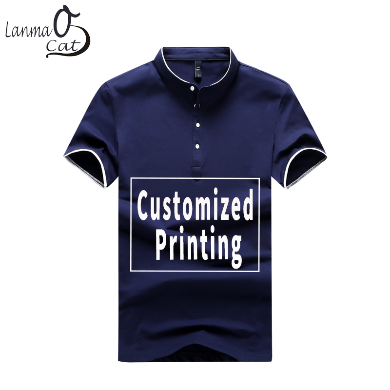 Lanmaocat Plain Color Stand Collar   Polo   Shirts Men Custom Casual Cotton   Polo   Clothes Fashion Summer 3XL 4XL DIY Free Shipping