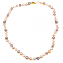 Natural culture 8-9mm freshwater white pink purple pearl necklace Pearls choker necklaces
