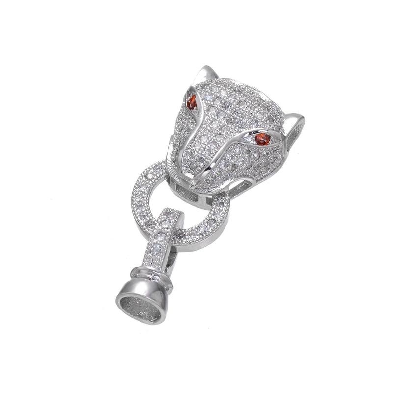 Necklace Bracelet Hook Clasps Zircon Green/ Red Eye Leopard Head Connectors Fastener For Making Pearls Beaded Jewelry Findings