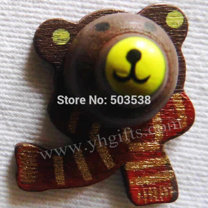 100PCS/LOT.Wood brown bear stickers,Kids toys,scrapbooking kit,Early educational DIY.Kindergarten crafts.Classic toys.Wholesale