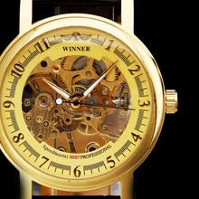 Zwycięzca klasyczny Luminous złoty szkieletowy Case mężczyźni zegarki Top marka luksusowy zegarek mechaniczny Erkek Saat Reloj Hombre Montre Homme tanie tanio Mechaniczne Zegarki Na Rękę Okrągły 4 0mm Skóra Papier Moda casual GMT823 Klamra Ze stali nierdzewnej 20mm T-WINNER