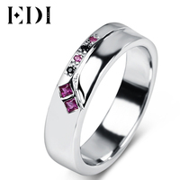 EDI Ruby Gemstone Silver Engagement Ring 925 Sterling Silver White Gold Plated Natural Ruby Sapphire Women