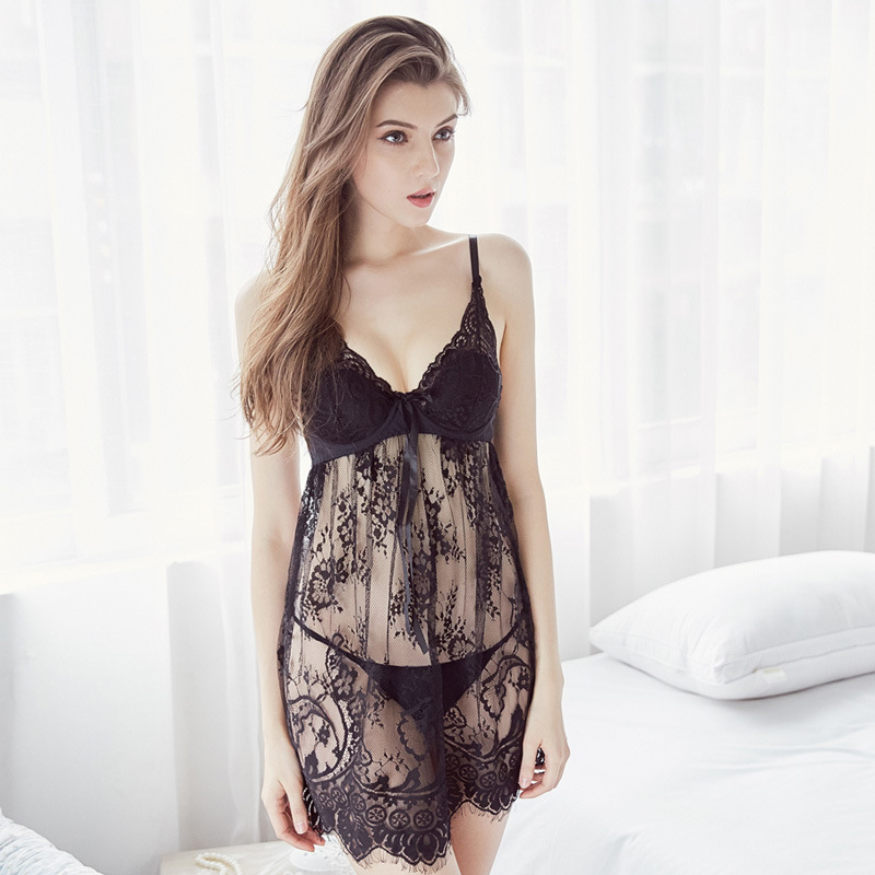 2c68592952 See Through Lace Red Black Blue Slip Nightgown Sleepwear Women Night Wear Sleep  Dress Sexy Lingerie Nightdress Ladies Nighties
