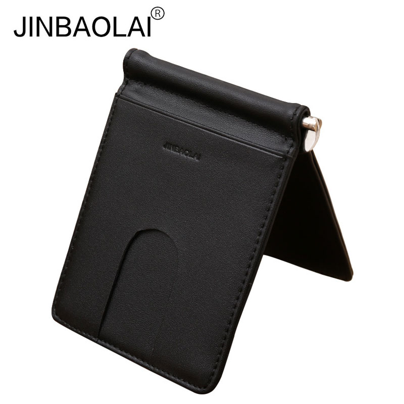 купить JINBAOLAI Genuine Leather Simple Male Black Money Clip with Credit Card Slots Bits Fashion Famous Brand Wallet Purse for Men по цене 564.38 рублей