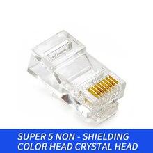 100pcs 8P Modular Cat 5e RJ45 Connector Ethernet Cable Head Plug Gold-plated Cat 5e Crimp Network RJ 45 Connector Cat5e cat 5e rj 45 stranded network cable white 10m