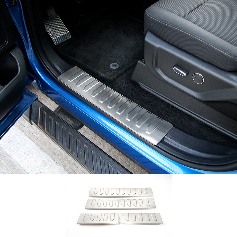 SHINEKA Car Interior Scuff Plate Door Sill Protector Entry Guard Pedals For Ford F150 2015