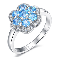 Daisy Trendy Fine 1 0ct 100 Authentic Natural Blue Topaz 925 Silver Flower Ring