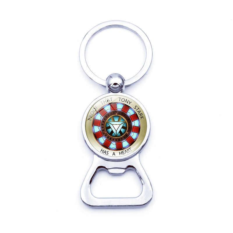 Double side rotatable Arc Heart Iron Fans keychain superhero