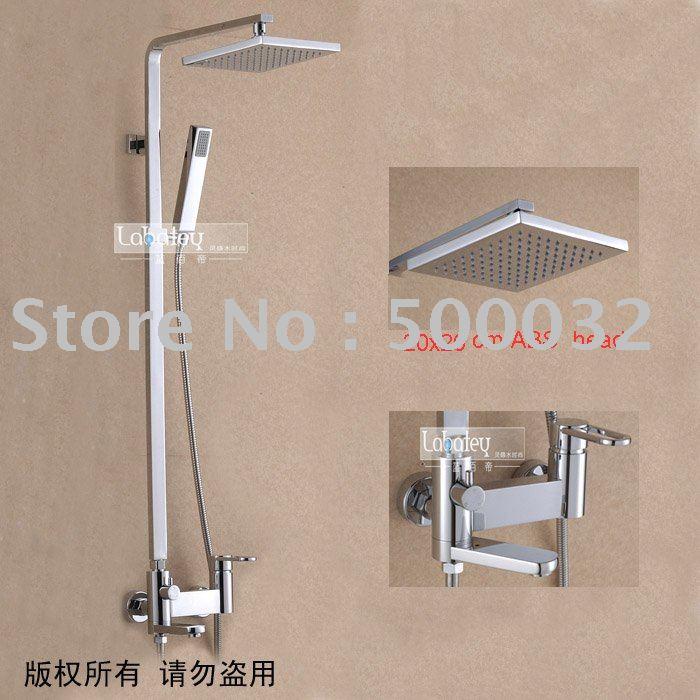 FLG High Quality Square Rainfall Shower Set Chrome Finishing Copper Bath Shower Faucets Waterfall Shower Mixer griferia ducha in Shower Faucets from Home Improvement