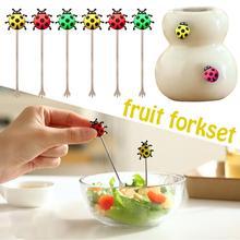 Милые силиконовые вилки в виде божьей коровки, набор креативных вилок в виде животного, жука, фруктового знака, вилка для еды, модная маленькая вилка, 6 шт. в упаковке, распродажа