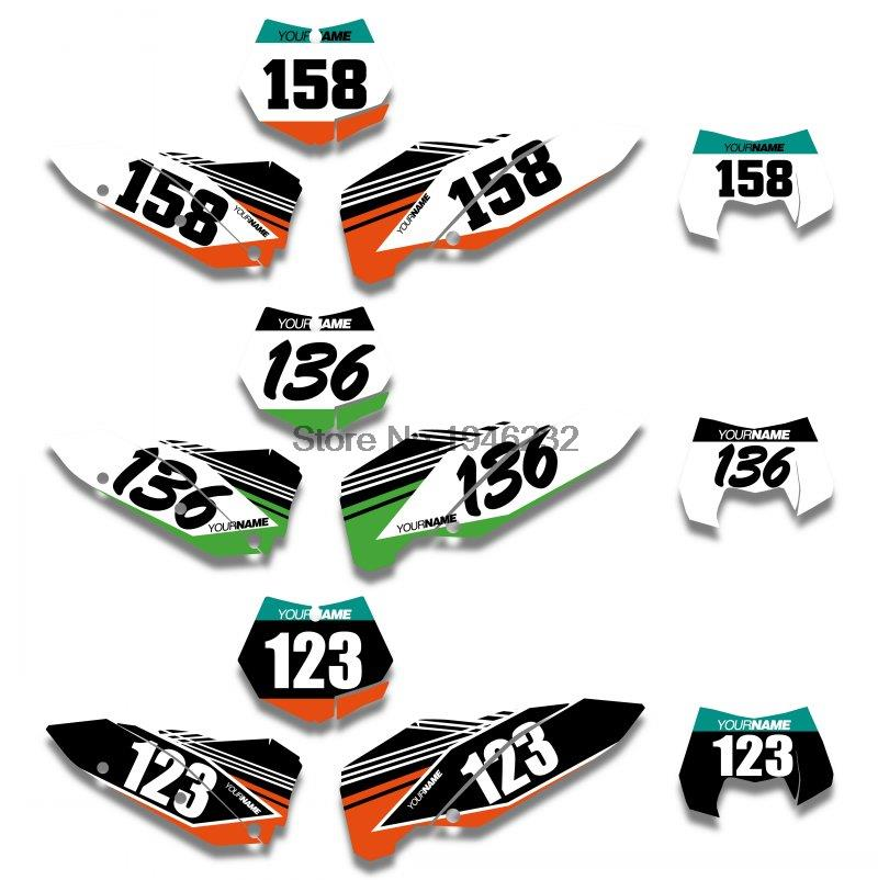 H2CNC Custom Background Number Plate Graphics Sticker & <font><b>Decal</b></font> For <font><b>KTM</b></font> SX SXF 2007 <font><b>2008</b></font> 2009 2010 XC EXC <font><b>2008</b></font> 2009 image