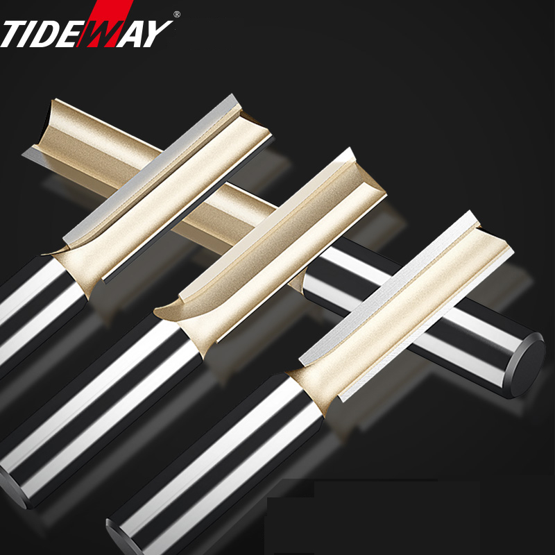 Tideway Straight Router Bits 1/2 1/4 Shank Double Flute Plunge Milling Cutter Carbide Tipped Woodworking Trimming Slotting Tool