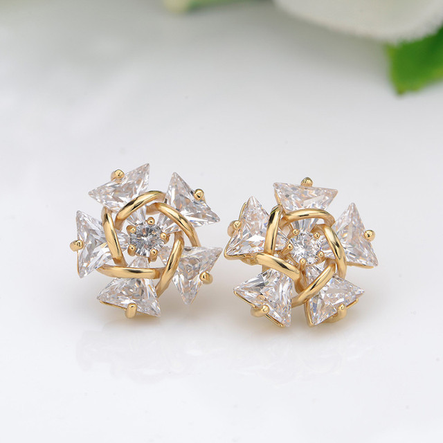 Luxury Zirconia Stud Earrings For Women AAA CZ Bridal Wedding Earrings Jewelry Gold Color Earings Brincos