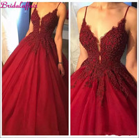 2018 Dark Red V Neck Sexy Party Dress Long Prom Dresses Crystals Beading Puffy Tulle Evening Gowns Formal Long Party Dress