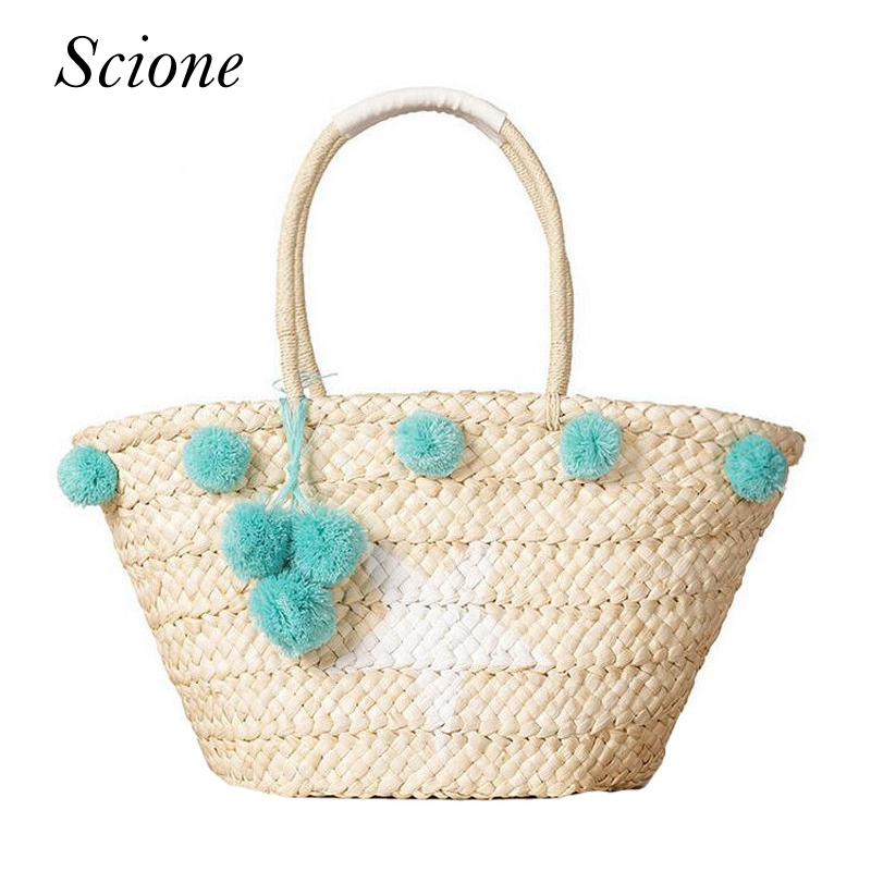 Bohemian Straw Bag Summer Beach Handbag Women Star Shopping Tote Ful Ball Handmade Woven Travel Shoulder Bags Purse Bolsa 131084 handmade flower appliques straw woven bulk bags trendy summer styles beach travel tote bags women beatiful handbags